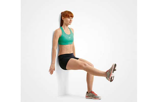single leg wall squats