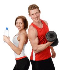 Αθλητική γυναίκα και άντρας με ένα dumbell